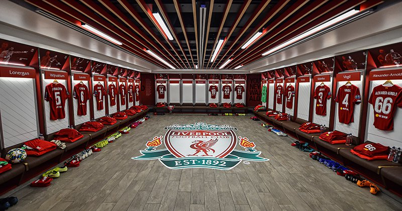 Liverpool FC Locker Room with Right To Play logo on kits