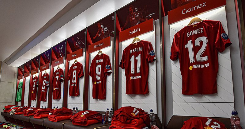 Liverpool FC Shirts - Angled photo - locker room
