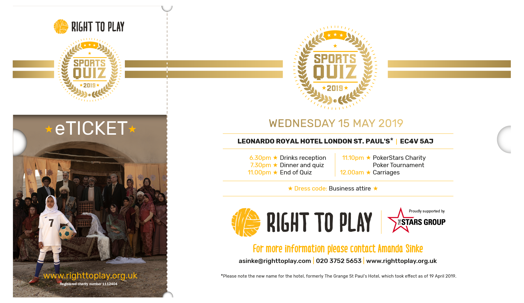 Right To Play Sports Quiz 2019 eticket - UK